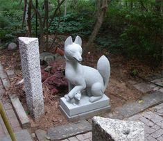 Granite Asian hand-carved art pieces for Japanese garden, wonderful female kitsune