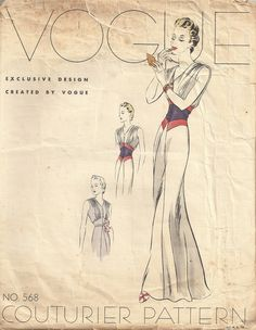 Late 1930s Vogue pattern