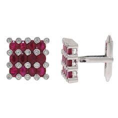 0 36ct Diamond 4 81ct Diamond Ruby 14k White Gold Cuff Links   eBay $1,618.80 #SeaofDiamonds #SOD #Fashion #Men #Jewelry #Cuff #Links #CuffLinks #Deals