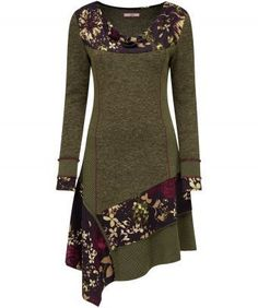 """Calm and neutral khaki meets fabulous floral in this autumn must-have. Textured panels and embroidered seams complement the bright print perfectly and with a cowl neck finish, you'll feel snug and stylish every time you wear it. Approx Length: 108cm (at longest point) Our model is: 5'7"""""""