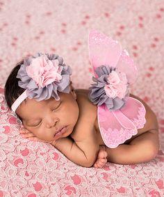 Look at this #zulilyfind! Pink & Gray Glitter Wings & Headband #zulilyfinds
