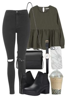 """Untitled #17"" by cassidychristy ❤ liked on Polyvore featuring AllSaints, Topshop, Steve Madden, Daniel Wellington and Uncommon"