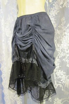 Storm Cloud Up-Cycled Slip Skirt with Lace Accents by getjuliet