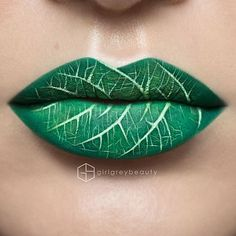 'lip art' is the latest make up trend Leafy lips: One artist transformed her lips into an intricate leaf, complete with veins .Leafy lips: One artist transformed her lips into an intricate leaf, complete with veins . Lipstick Art, Lip Art, Lipstick Colors, Lip Colors, Burgundy Lipstick, Green Lipstick, White Lipstick, Lipstick Shades, Makeup Ideas