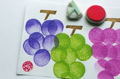 grapes hand carved rubber stamps. fruits stamp. by talktothesun