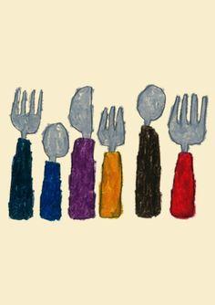 Cutlery,  Yusuke Yonezu. Contour Drawing, Pastel Drawing, Love Painting, Figurative Art, Japanese Art, Decoration, Art For Kids, Design Art, Cool Art