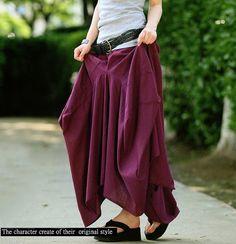 Baggy elastic waist long linen dress comfortable dress Beach dress Maxi dress