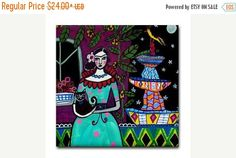 50% OFF Storewide- Mexican Folk Art Ceramic Tile Frida Kahlo Black Cat Art Mexican Tiles Gift COASTER Turquoise Aqua Harlequin Fountain C