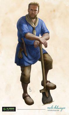 "Character Illustration for the German P&P RPG ""The Black Eye"" Fantasy Male, Fantasy Rpg, Medieval Fantasy, Fantasy World, Fantasy Portraits, Character Portraits, Dnd Characters, Fantasy Characters, Character Concept"