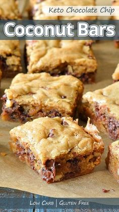 """""""Easy to make gluten free and keto chocolate chip coconut bars are great alternative to regular chocolate chip cookie bars. Enjoy one fresh out of the oven with a glass of almond milk!"""" Keto Chocolate Chip Coconut Bars - You must try this recipe. #keto #ketodiet #ketorecipes #ketogenic #ketogenicdiet #ketogenicrecipes #lowcarb #lowcarbrecipes"""