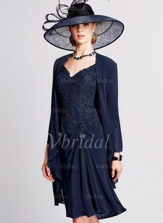 Mother of the Bride Dresses - $132.00 - A-Line/Princess V-neck Knee-Length Chiffon Lace Mother of the Bride Dress With Beading (0085100636)