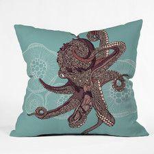 Valentina Ramos Octopus Bloom Polyester Throw Pillow