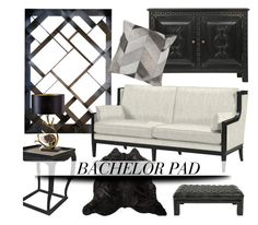 """Bachelor Pad Decor"" by kathykuohome ❤ liked on Polyvore featuring interior, interiors, interior design, hogar, home decor, interior decorating, Otis, black, Home y homedecor"