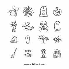 Iconos dibujados a mano para Halloween