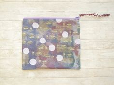 Cosmetic bag make up carry-all zipper pouch pencils case hand screen printed large purse purple pink gold lilac eyes face mask moon by poppyshome on Etsy