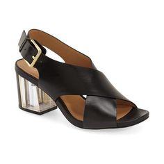"Calvin Klein 'Loni' Clear Block Heel Sandal, 2 3/4"" heel (455 BRL) ❤ liked on Polyvore featuring shoes, sandals, black, ankle strap sandals, black leather sandals, leather sandals, black strappy sandals and block-heel sandals"