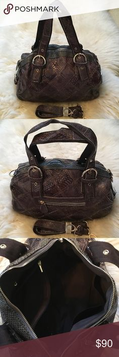"""💯% Leather Various Patterned Patchwork Handbag 100% Leather Patchwork Handbag with A Variety of Crocodile Patterns. Brown. 14"""" width, 11"""" height, 6"""" depth, 11"""" strap drop with a long strap included. Interior has 2 zip pockets and 2 drop in pockets. Exterior zip top closure and  a zip pocket. Gold hardware.  Imported. Boutique Bags"""