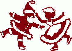 Silhouette Design Store - View Design #70982: skating santa and mrs. claus