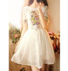 Sweet Women Embroidery Floral Short Sleeve Round Collar Princess Chiffon Dress4