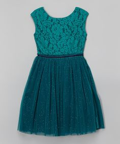 Love this New Teal Lace & Chiffon Sleeveless Dress by Speechless on #zulily! #zulilyfinds