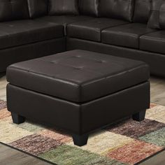 Bonded Leather Ottoman in Dark Brown | Nebraska Furniture Mart
