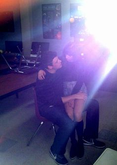 "Cory Monteith and Lea Michele on set for the last episode of season 3 ""Goodbye"" <3"