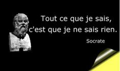 """Tout ce que je sais, c'est que je ne sais rien!"" Socrates (but I doubt he said… Socrates Quotes, Wisdom Quotes, Words Quotes, Wise Words, Life Quotes, Famous French Quotes, Famous Quotes, Positive Mind, Positive Thoughts"