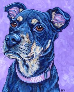"Spark the Taiwan Mountain Street Dog 8"" x 10"" Custom Pet Portrait Painting in Acrylic from Pet Portraits by Bethany on Etsy."