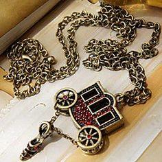 Europa y América joyas retro Red Diamond Slipper Collar larg... – MXN $ 33.65