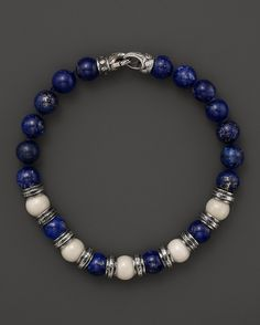 Scott Kay Bone and Lapis Beaded Bracelet