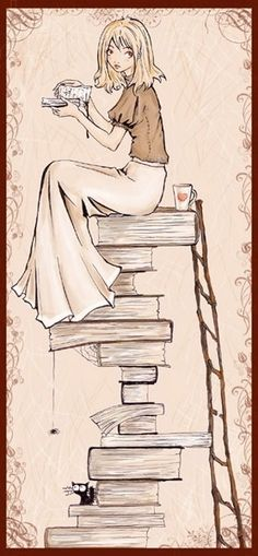 Sitting on a stack of books.
