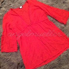 """Orange J.Crew tunic style top This top is adorable with its long tunic style length, circles are embroidered into the fabric, cinch tie at the waist. L:28"""", B:21"""", S:18"""". More of an autumn orange. J. Crew Tops Tunics"""