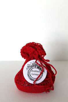 Jane Austen Pinback Button RED Crochet Gift by creativecarmelina