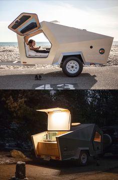 Best Teardrop Camper Designs For Adventure Travel Camping in a modern teardrop trailer is one of the Camping Trailer Diy, Diy Camper Trailer, Trailer Build, Truck Camper, Go Camping, Camping Outdoors, Rv Campers, Camper Diy, Camper Hacks