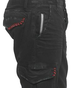 "Men's ROCKSTAR sushi - ""MIDNIGHT BLACK"" Distressed Cargo Pant with Red Stitch Accents"