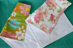 vintage sheet burp cloths backed with flannel.