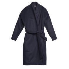 Chelsea coat dark navy (126.315 HUF) ❤ liked on Polyvore featuring outerwear, coats, wrap coats, wool coats, long woolen coats, long wool coat and long wrap coat
