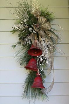Rustic Farmhouse Metal Bell Swag - Rustic Farmhouse Metal Bell Swag Bring a tou. - Rustic Farmhouse Metal Bell Swag – Rustic Farmhouse Metal Bell Swag Bring a touch of festive sty - Christmas Swags, Christmas Door Decorations, Christmas Centerpieces, Christmas Holidays, Christmas Christmas, Christmas Ideas, Holiday Wreaths, Christmas Design, Christmas Inspiration