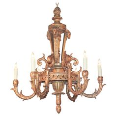 19th Century French Neoclassical, Giltwood Chandelier | From a unique collection of antique and modern chandeliers and pendants  at https://www.1stdibs.com/furniture/lighting/chandeliers-pendant-lights/