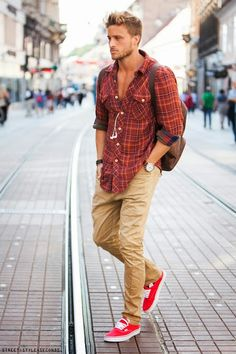 red plaid + khakis