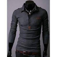 #RoseWholesale - #Rosewholesale Turndown Collar Half Button Long Sleeve Tee - AdoreWe.com