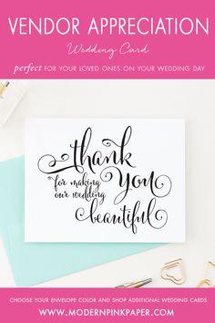 Florist thank you note, Vendor thank you cards, Wedding thank you cards