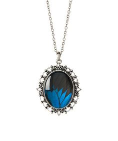 Another great find on #zulily! Silver & Blue Genuine Butterfly Pendant Necklace #zulilyfinds