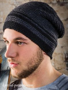 Men's beanie free crochet pattern ~ sizes Small/Medium and Large/Extra Large
