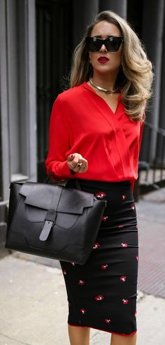 My favorite work and travel bag // Red silk wrap blouse, black work-appropriate pencil skirt with floral embellished, suede mary jane black pumps, black cat-eye sunglasses, gold chocker, black work bag {Victoria Beckham, gucci, saint laurent, le specs, se