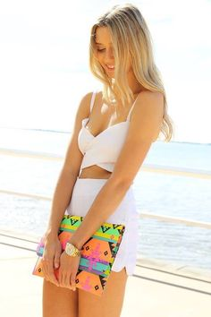 Summer neon clutch, all white  Thinspo style thin fashion skinny clothes to wear when thin