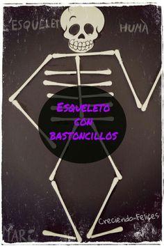 Idea original de: Mi Grimonio Escolar .      Marc en el colegio está aprendiendo los huesos del cuerpo humano y en casa, se nos ocur... Matilda, Halloween, School, Ideas Para, Montessori, Home, Human Skeleton For Kids, Human Body Bones, Summer School