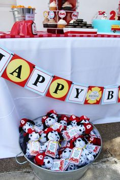 Party favors at a firefighter birthday party! See more party ideas at CatchMyParty.com!