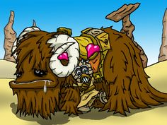 It's a Tusken Raider givin' 'is cute ickle Bantha a big hug. ^_^ Tusken Raiders and Banthas are copyrright to Lucas . Tusken Raider, Big Hugs, Bowser, Scooby Doo, Steampunk, Star Wars, Deviantart, Love, Stars