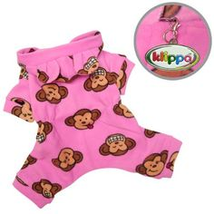 Adorable Silly Monkey Fleece Dog Pajamas / Bodysuit with Hood Color: Pink, Size: Medium - http://www.thepuppy.org/adorable-silly-monkey-fleece-dog-pajamas-bodysuit-with-hood-color-pink-size-medium/